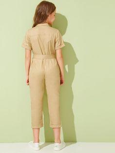 Girls Flap Pocket Cuffed Sleeve Belted Utility Jumpsuit | SHEIN UK