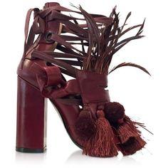 N?21  Shoes Burgundy Leather Heel Sandal w/Pom Pom Tassel & Fringe ($925) ❤ liked on Polyvore featuring shoes, sandals, leather sole shoes, tassel sandals, bohemian sandals, chunky-heel sandals and tall fringe sandals