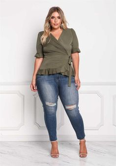 Plus Size Clothing | Plus Size Wrap Ruffle Peplum Top | Debshops