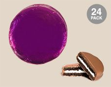 Purple Belgian Chocolate Drenched Oreo Cookies Foil Wrapped: 24 Pack of Chocolate Covered OREO Cookies Individually Wrapped in a Purple Wrapper