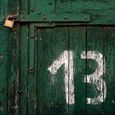 Hand draft white number thirteen on a green door. Lucky Number 13, Apollo 13, Activities To Do, Graphic Design Typography, Letters And Numbers, Graphic Design Inspiration, Wallpaper, Painting, Doors
