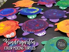 Kindergarten Color Mixing Turtles! Excellent primary/secondary color art lesson! Art with Mrs. Nguyen