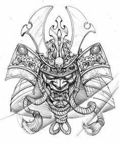 Matching Tattoo With Gaby Irezumi, Samurai Oni Tattoo, Irezumi Tattoos, Raijin Tattoo, Kunst Tattoos, Shogun Tattoo, Hanya Mask Tattoo, Helmet Drawing, Mask Drawing, Samurai Drawing
