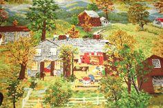 grandma moses paintings | Unused Mint Rare Grandma Moses Halloween Vintage Barkcloth - 49 x 16 ...
