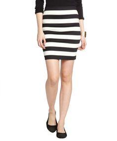 Robert Rodriguez black and white striped stretch cotton mini skirt