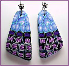 Polymer Clay Mosaic Pattern Earrings, via Flickr.