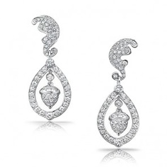.925 Silver Micropave CZ Kate Middleton Inspired Acorn Dangle Earrings