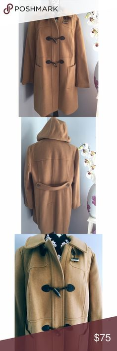 ️ Talbots Hooded Camel Toggle Coat Size 16W. Heavy wool blend coat. Removable hood. Fully lined. Toggle and zip closure. Talbots Jackets & Coats