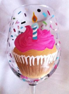 BIRTHDAY GLASSES - CUPCAKE WINE GLASS - The Painted Flower (Powered by CubeCart) - HAPPY BIRTHDAY CUPCAKE WINE GLASS can be personalized at no extra cost!