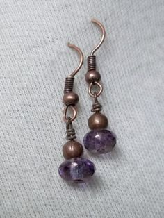 Lavender AB earrings Antiqued copper Czech Glass Faceted Fire-Polished Rondelle