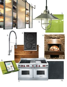 1) Steel Rails with Glass Doors cabinet system —   2) Opticolour Glass lime green backsplash  3) Quorum Caged Pendant Lights  4) Wolf Induction Cooktop  5) Hangrohe Pull-out Faucet    6) Earthstone Pizza Oven with metal hood  7) Reclaimed Walnut - Kitchen Counters  8) Joseph Joseph iPad cookbook stand  9) Wolf Range with Infrared Charbroiler, Hidden LCD control panel  10) Black Slate Flooring