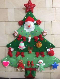 Felt Christmas Tree #feltornaments Fabric Christmas Ornaments, Felt Ornaments, Christmas Tree Decorations, Unique Christmas Trees, Christmas Makes, Noel Christmas, Green Christmas, Christmas Activities, Christmas Projects