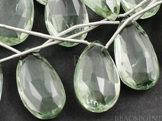 Natural ''NO TREATMENT'' Green Amethyst Large Long by Beadspoint, $34.95