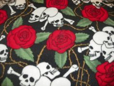 Skulls and Red Roses Fleece Fabric  Dark Red and by SusiesKloset, $9.50