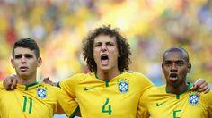 Brazil line up for the national anthem