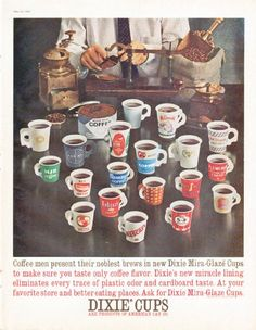"Description: 1961 DIXIE CUPS vintage magazine advertisement ""Coffee men"" -- Coffee men present their noblest brews in new Dixie Mira-Glaze Cups to make sure you taste only coffee flavor. ... Dixie Cups are products of American Can Co. -- Size: The dimensions of the full-page advertisement are approximately 10.5 inches x 13.5 inches (26.75 cm x 34.25 cm). Condition: This original vintage full-page advertisement is in Excellent Condition unless otherwise noted."