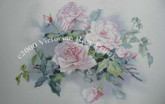 Print FREE SHIP Pale Pink Cabbage Roses by VictorianRosePrints, $11.99