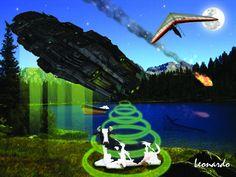 #alieni #aliens #abduction #cow #mucca #deltaplano #lago #lake Aliens, Aquarium, Cow, Palette, Photoshop, Instagram, Surrealism, Goldfish Bowl, Aquarium Fish Tank