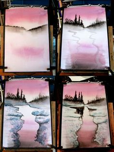 40Easy Step by Step Painting Examples for Beginners - Bored Art Watercolour Tutorials, Watercolor Techniques, Watercolour Painting, Painting Techniques, Watercolors, Watercolor Landscape Tutorial, Watercolor Sunset, Watercolor Ideas, Painting Art