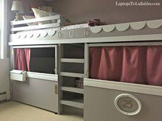Laptops to Lullabies: DIY loft bed, playhouse and reading nook
