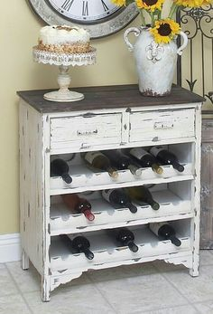 Turn your old dresser into a storage rack for your favourite wines... I love this!  I think I would rather take out the top 2 shelves and that 1st row of wine to make room to hang my wine glasses though.