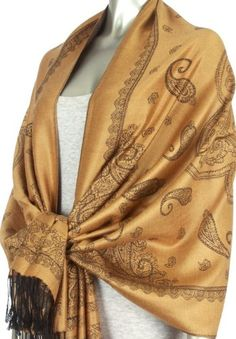 Lightweight Two Tone Paisley Design Pashmina Fringe Scarf / Stole / Wrap ( Choose from 12 Colors )
