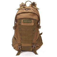 Aircee TM 35L Military Hiking Assault Pack Travel Bug Out Bag School Backpack Brown ** See this great product.