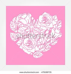 Laser cut vector rose heart ornament. Cutout pattern silhouette with flower and leaves. Die cut paper element for wedding invitations, save the date, greeting card. Square cutting template panel