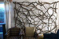 .nice headboard - painted white with white xmas lights weaved in?