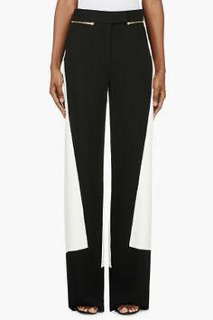 Calvin Klein Collection Black & White Colorblocked Pants for women | SSENSE