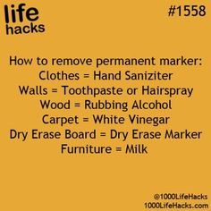 1000 Life Hacks - Picmia Cleaning tips remove permanent marker Simple Life Hacks, Useful Life Hacks, Awesome Life Hacks, Funny Life Hacks, Hack My Life, Life Hacks For School, Diy Cleaning Products, Cleaning Hacks, Cleaning Solutions