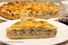 tarta-cremoasa--cu-ciuperci Vegetarian Recipes, Cooking Recipes, Healthy Recipes, Romanian Food, Savoury Baking, Yummy Drinks, Foodies, Good Food, Food And Drink
