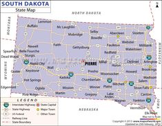 map of South Dakota cities STATE OF SOUTH DAKOTA USA Pinterest