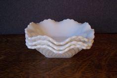 Vintage Milk Glass Ruffled Edge Bowls Set of Three