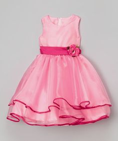 Pink Sash Flower Dress - Infant, Toddler & Girls #zulily #zulilyfinds