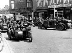 German SS soldiers of the motorized SS Panzer Division Reich (from 1943 onward, SS Panzer Division Das Reich; previously, SS-Verfügungstruppe, or SS-VT) on motorcycles and in a Wanderer car. Cycle Pictures, Haarlem Netherlands, Germany Ww2, Ww2 Photos, Armored Vehicles, Armored Car, Military Photos, German Army, Luftwaffe