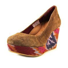 Anne Klein Shoe sz 6.5 M Sandals Paisley Wedge Heel AK Yeller EU 37 Boho  Groovy