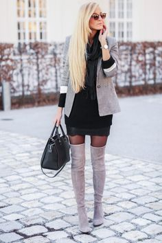 grey thigh high boots on black pantyhose with short black dress #thighhighboots