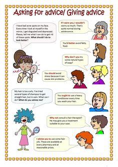 Giving advice worksheets English Speaking Skills, English Language Learning, English Lessons, Teaching English, Teaching Grammar, Grammar And Vocabulary, English Vocabulary, English Fun, Learn English