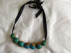 Necklace wooden beads painted beads gift for by mybeautifulmonster