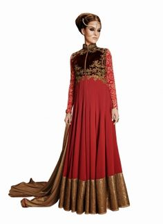Abaya style Red Vikram fadnis anarkali frock for weddings