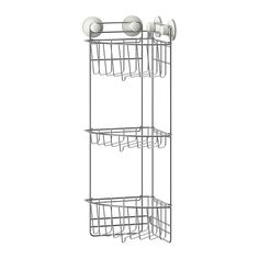 IMMELN Shower corner shelf, three tiers IKEA The suction cup grips smooth surfaces. Made of zink-plated steel, which is durable and rust resistant.