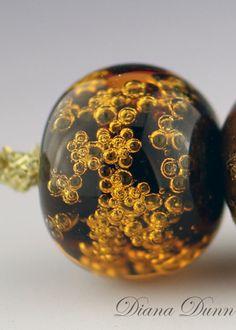 Lampwork Glass Bead Set Brown Bubbles (6) Handmade SRA by Diana Dunn