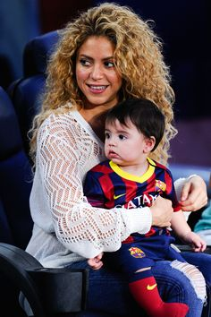 Shakira with her little boy, Milan. He looks like a doll.