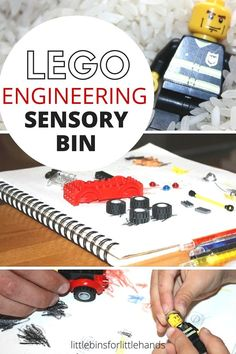 Engineering LEGO Sensory Bin STEM Fine Motor Play. Work on STEM skills with LEGO and sensory play. STEM is science technology engineering and math! Fun STEM for preschool and kindergarten activities.