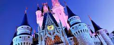 Cinderella Castle illuminated at night by pink lights