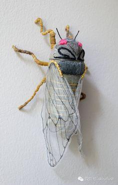 手工刺绣昆虫 比标本还真!