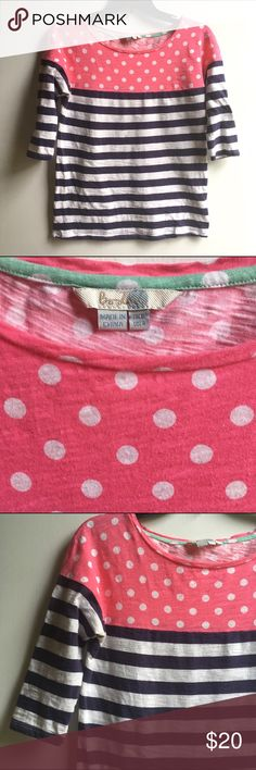 Boden Pink Polka-dot & Navy Stripe Tee Adorable Boden Pink Polka-dot & Navy Stripe Tee. 3/4 length sleeves, boat neck. In excellent pre-owned condition. US size 4. Boden Tops Tees - Long Sleeve