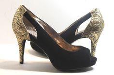 Alfani  Kiley Evening Pump Open Toe Shoes,  Black and Gold, Suede, Size 6.5 M #Alfani #OpenToePumps http://stores.ebay.com/ECLECTIC-GOODIES-EG