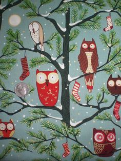holiday owls by Alexander Henry (fabric 2011)